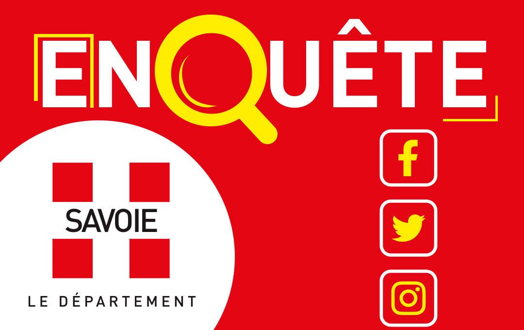 visuel de l'enquête avec le logo du Conseil départemental de la Savoie
